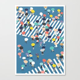 Crossing The Street On a Rainy Day - Blue Canvas Print