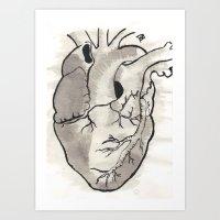 Heart in black and white Art Print