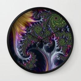 Amazing Gorgeous Intricate Elegant Fractal Flourish Swirls Gold Purple Colorful Abstract Wall Clock