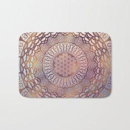 Flower of life in mandala - gentle glitter on pastel Bath Mat
