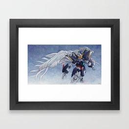 Gundam Wing Zero watercolor Framed Art Print
