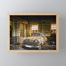 Old Car in a Garage Framed Mini Art Print