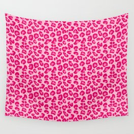 Leopard Print in Pastel Pink, Hot Pink and Fuchsia Wall Tapestry