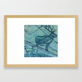 Elk on Mt Baker Framed Art Print
