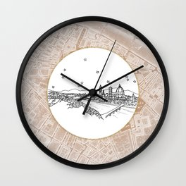 Florence (Firenze), Italy, Europe City Skyline Illustration Drawing Wall Clock