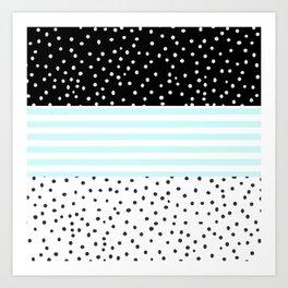 Modern black white teal stripes watercolor polka dots Art Print