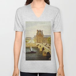 The Pont Royale and The Louvre, View of the Seine by Firmin-Girard Unisex V-Neck