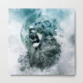Lion Blue Metal Print