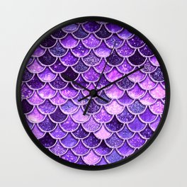 Pantone Ultra Violet Glitter Ombre Mermaid Scales Pattern Wall Clock