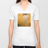 vienna V-neck T-shirts featuring Gustav Klimt - The Woman in Gold by Elegant Chaos Gallery