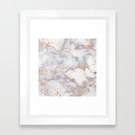 Gray Marble Rosegold  Glitter Pink Metallic Foil Style Framed Art Print