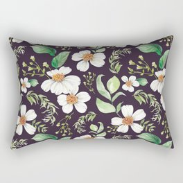 Modern purple green white watercolor daisies floral Rectangular Pillow