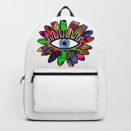 Greek Evil Eye Bright Flower Backpack