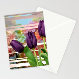 Flower Garden & Purple Tulips Stripes Collage Stationery Cards