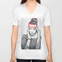 grimes V-neck T-shirts featuring Grimes by Eric Magnussen