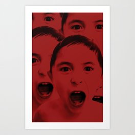 Shout, shout, let it all red Art Print