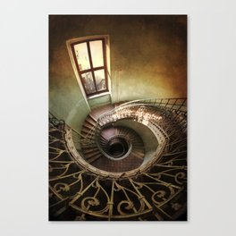 Spiral staircaise with a window Canvas Print