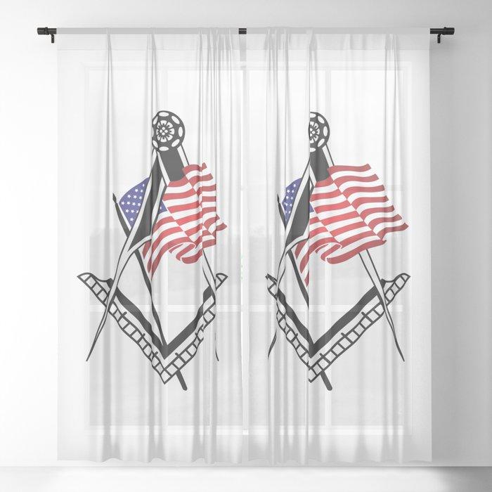 USA freemasonry symbol Sheer Curtain