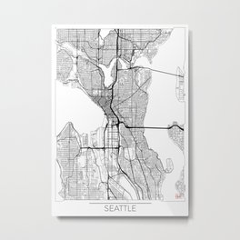 Seattle Map White Metal Print