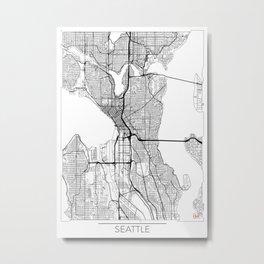 Seattle Map White Metal Print