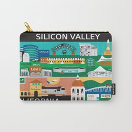 Silicon Valley, California - Collage Illustration by Loose Petals Carry-All Pouch