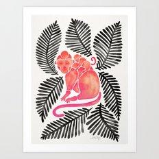 Monkey Cuddles – Pink & Black Palette Art Print