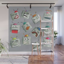 Emotional Robots Hand Drawn Repeat Pattern Wall Mural