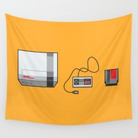 nintendo Wall Tapestries featuring #38 Nintendo Entertainment System by Brownjames Prints