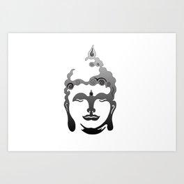 Buddha Head grey black white background Art Print