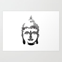 Buddha Head grey black white background Art Print