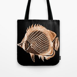Fish nautical coastal in black background Tote Bag
