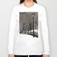 """central park Long Sleeve T-shirts featuring """"Central Park in Winter"""" by ColorWorkStudio"""