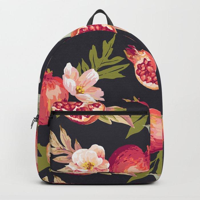 Pomegranate patterns - floral roses fruit nature elegant pattern Backpack