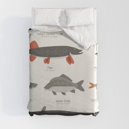 Infographic Guide to Water Animals Duvet Cover