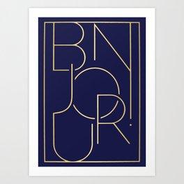 Royal Blue Bonjour Art Print