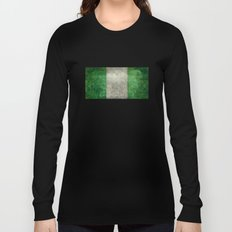 National flag of Nigeria, Vintage retro style Long Sleeve T-shirt
