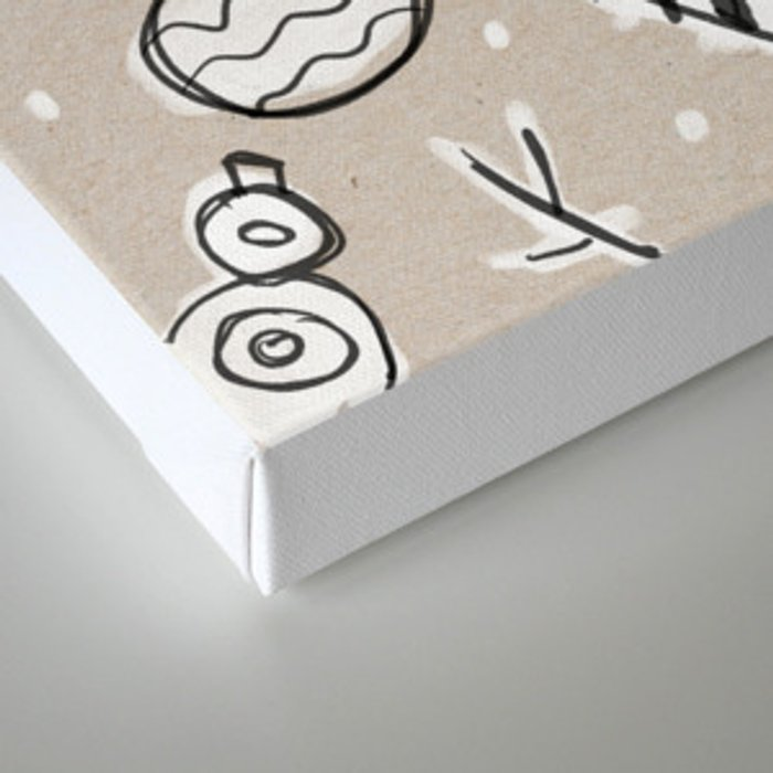 Christmas White and Kraft Sketches Canvas Print