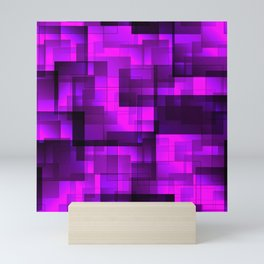 Mosaic of purple volumetric squares with a shadow. Mini Art Print