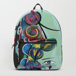 Girl with Flowers and Fruits in her hair Backpack