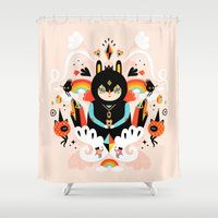 queen Shower Curtains featuring Rainbow Queen by Muxxi