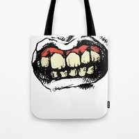 teeth Tote Bags featuring TEETH! by Helena Bowie Banshees