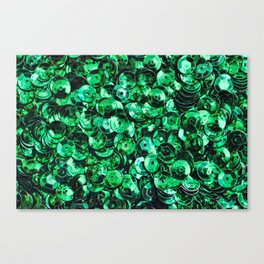 Green Scattered Sequins Canvas Print