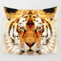 marley Wall Tapestries featuring abstract tiger by Ancello