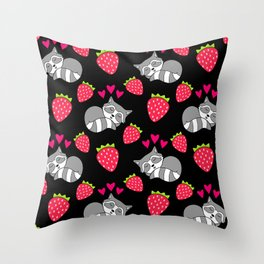 Cute funny sweet adorable sleeping baby raccoons, little pink hearts and red ripe summer strawberries cartoon black pattern design Throw Pillow