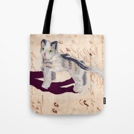 Vintage Fabric Stuffed Cat in Gouache Tote Bag