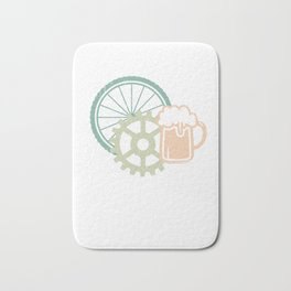 Will Bike For Beer Cycling Cyclist Riding Party Velo Club Bath Mat