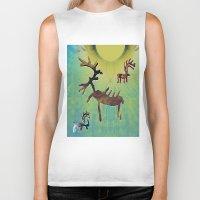 reindeer Biker Tanks featuring reindeer by donphil