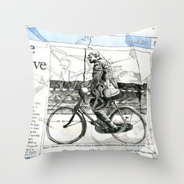 CP Scott on a Bicycle Throw Pillow