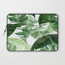 Green leaf watercolor pattern Laptop Sleeve