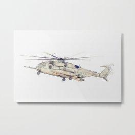 CH-53S Super Stallion Landing watercolor by Ahmet Asar Metal Print